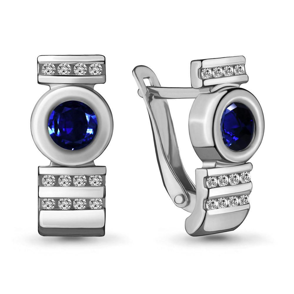 Серебряные серьги-классические с фианитом AQUAMARINE (#706647)