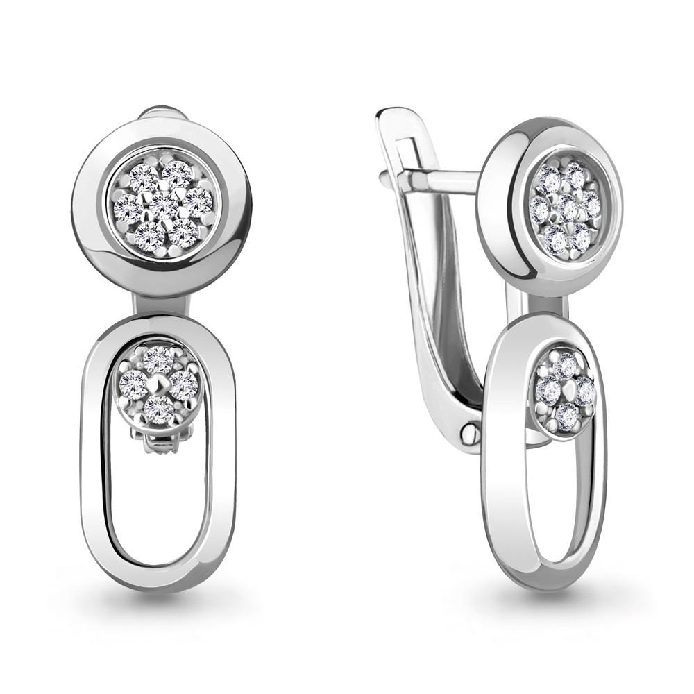 Серебряные Серьги-подвески с фианитом AQUAMARINE (#711906)