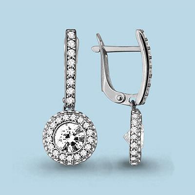 Серебряные Серьги-подвески с фианитом AQUAMARINE (#711538)