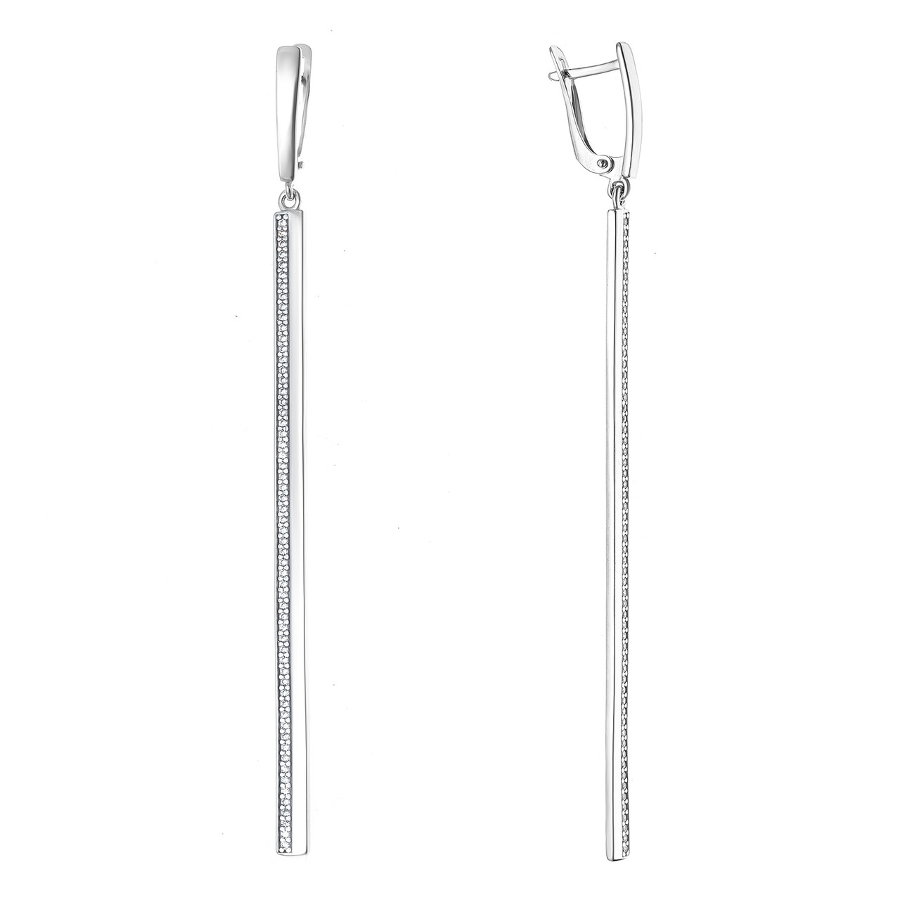 Серебряные серьги-протяжки с фианитом AQUAMARINE (#709216)