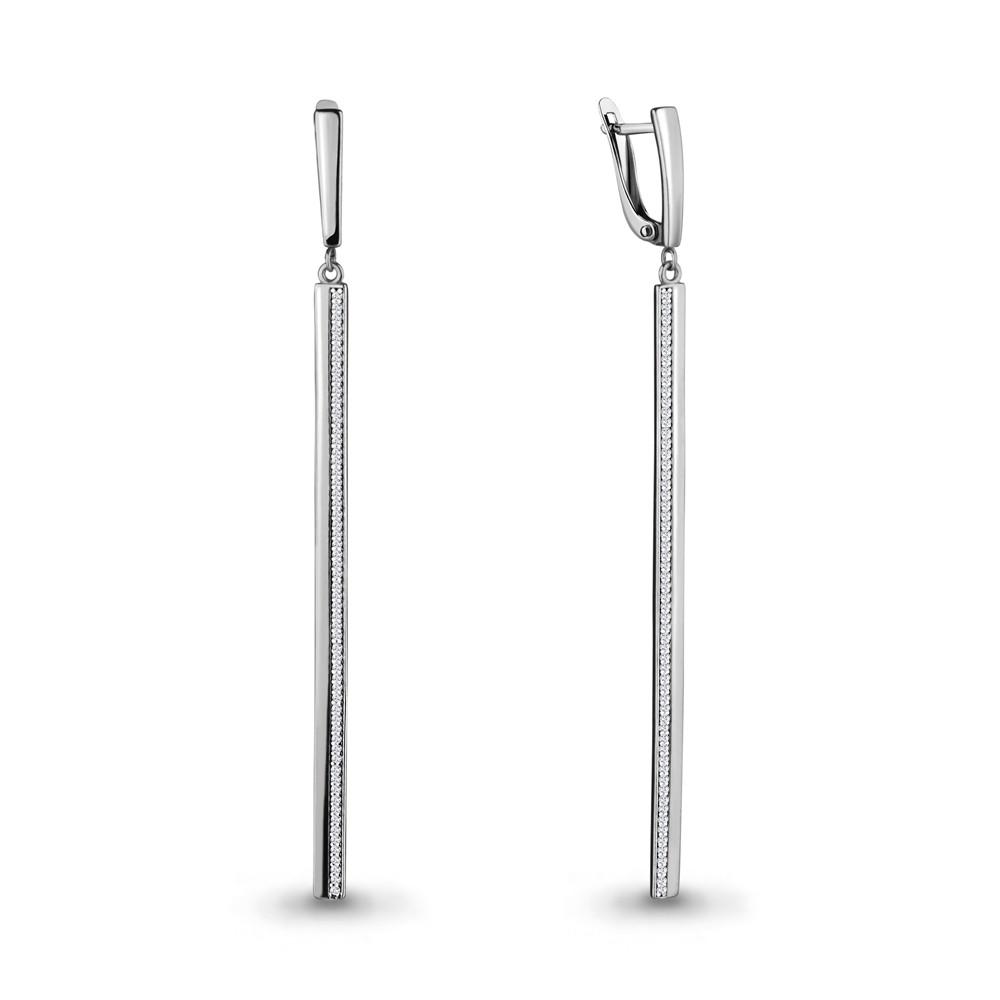 Серебряные серьги-протяжки с фианитом AQUAMARINE (#686418)