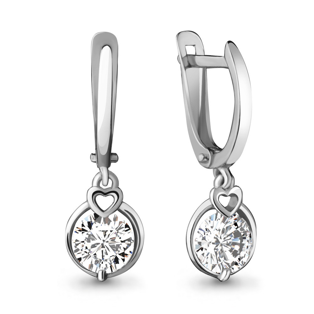 Серебряные Серьги-подвески с фианитом Swarovski AQUAMARINE (#431937)