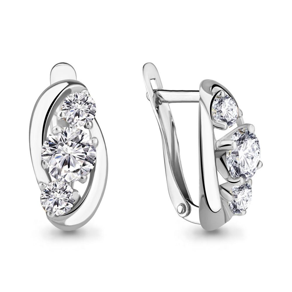 Серебряные серьги-классические с фианитом Swarovski AQUAMARINE (#407610)