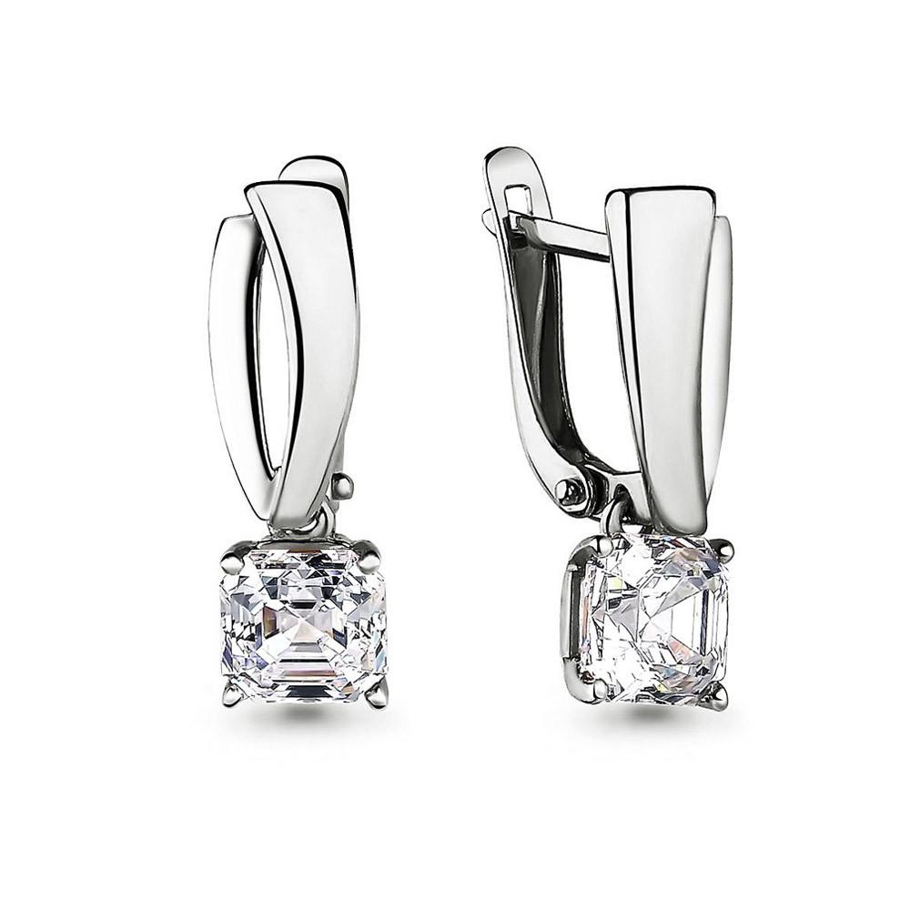 Серебряные Серьги-подвески с фианитом Swarovski AQUAMARINE (#711535)
