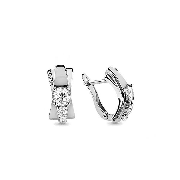 Серебряные серьги-классические с фианитом Swarovski AQUAMARINE (#703878)