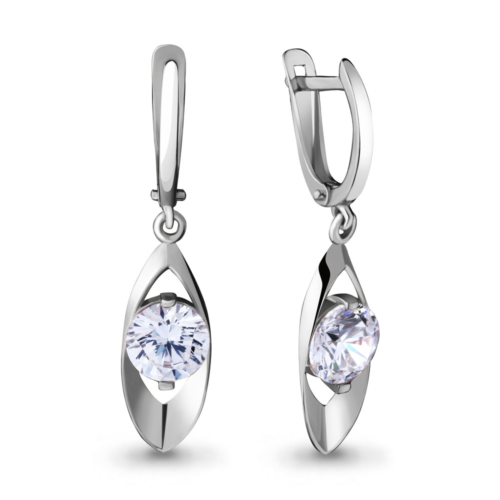Серебряные Серьги-подвески с фианитом Swarovski AQUAMARINE (#711534)