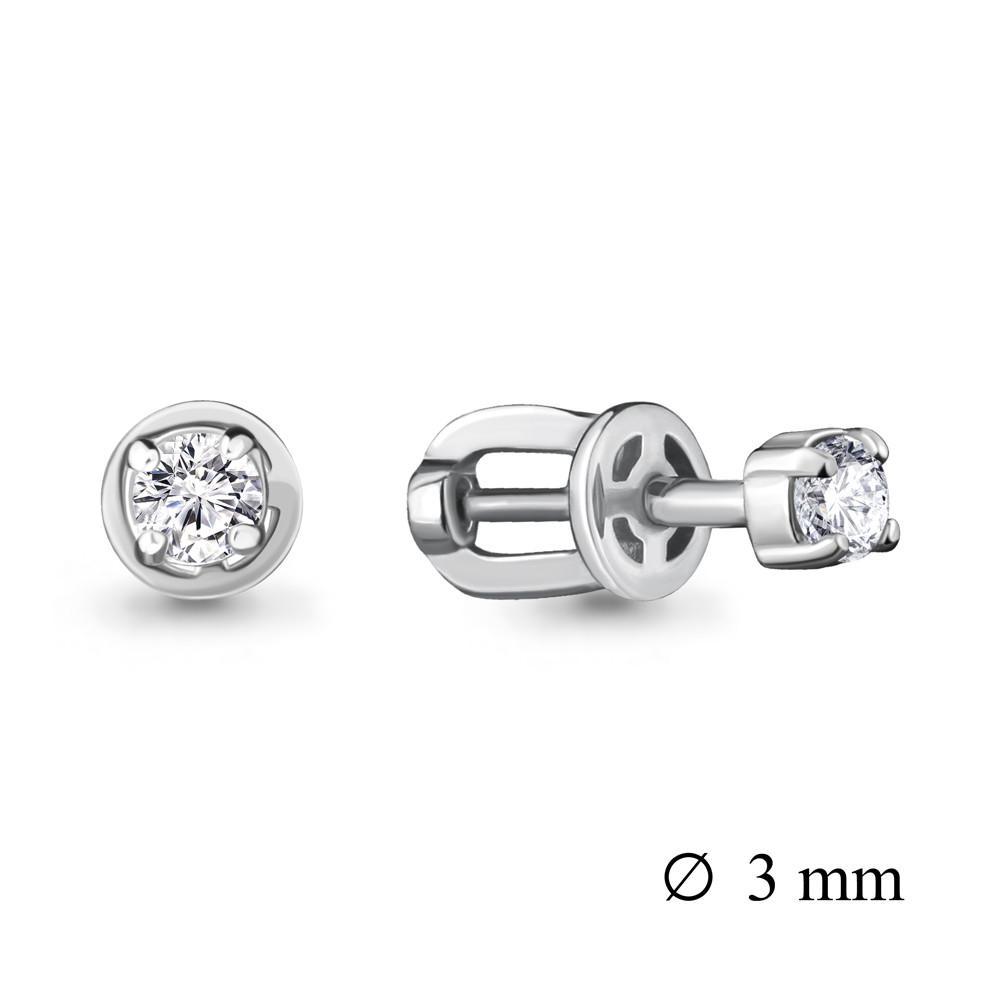 Серебряные серьги-пуссеты с фианитом Swarovski и фианитом AQUAMARINE (#407292)