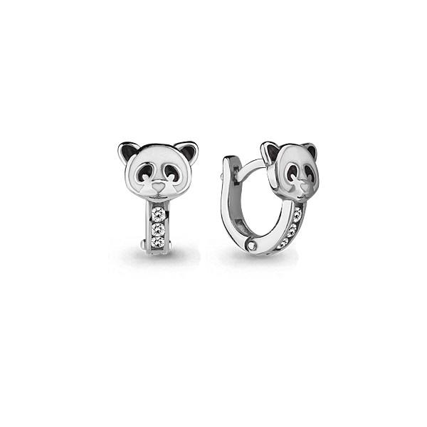 Серебряные серьги-классические с фианитом и эмалью AQUAMARINE (#631769)