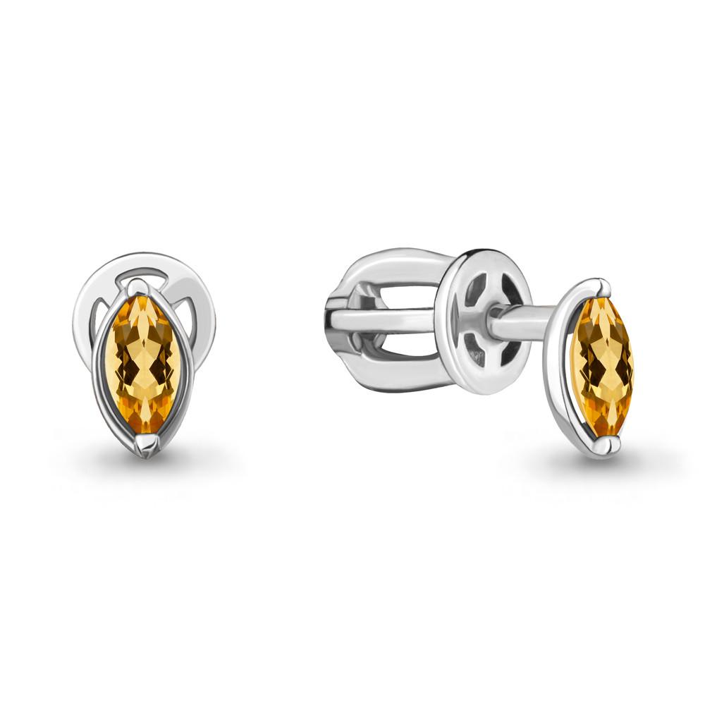 Серебряные серьги-пуссеты с цитрином AQUAMARINE (#709028)