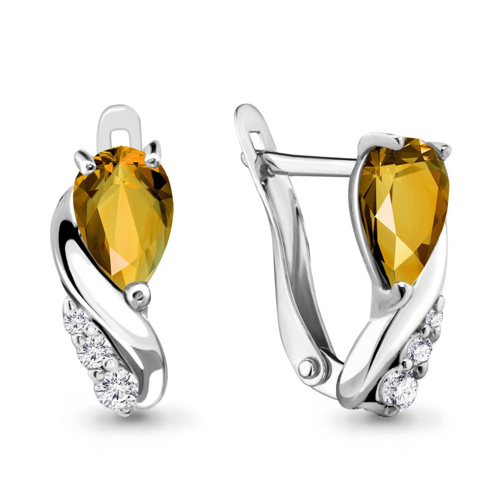 Серебряные серьги-классические с цитрином AQUAMARINE (#698483)