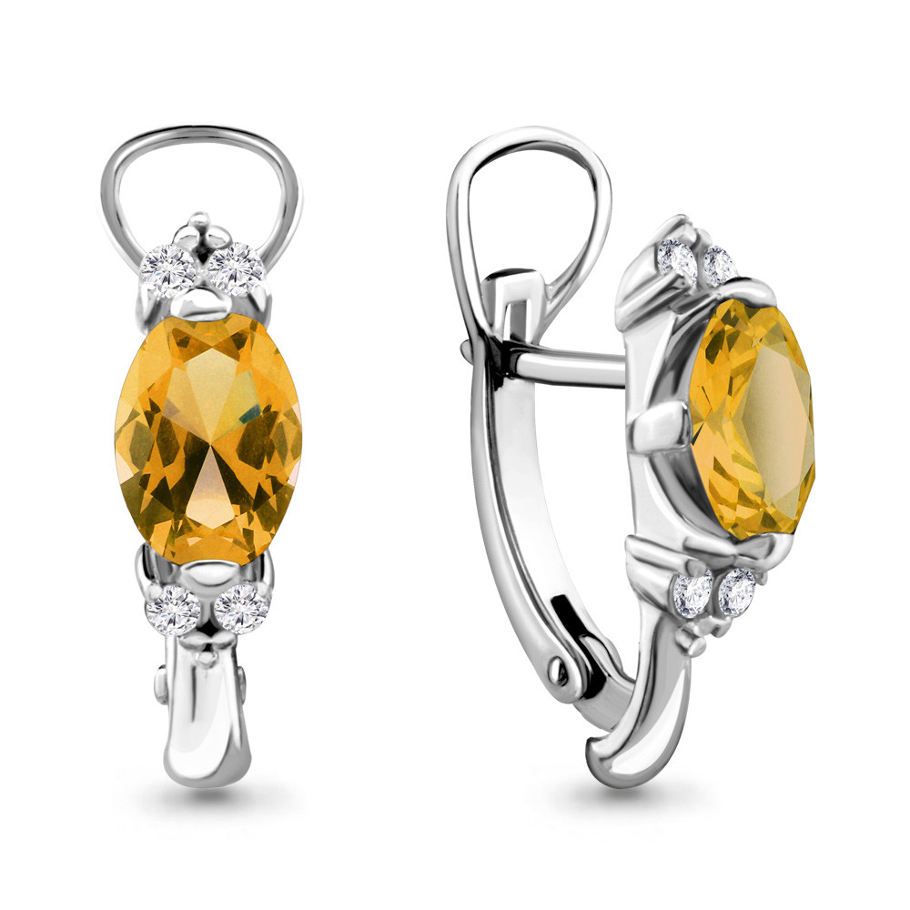 Серебряные серьги-классические с цитрином AQUAMARINE (#687111)