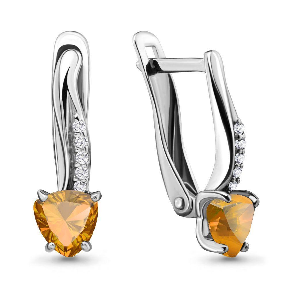 Серебряные Серьги-подвески с цитрином и фианитом AQUAMARINE (#697817)
