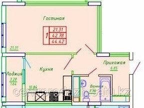 1 комнатная квартира в ЖК София 44.42 м²