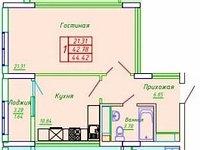 1 комнатная квартира в ЖК София 44.42 м², фото 1