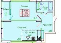 2 комнатная квартира в ЖК София 50.17 м², фото 1