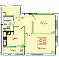 2 комнатная квартира в ЖК София 64.8 м², фото 1