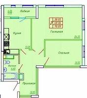 2 комнатная квартира в ЖК София 70.09 м², фото 1