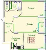 3 комнатная квартира в ЖК София 78.53 м², фото 1