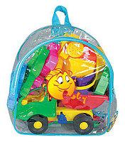 """Набор №352 (в рюкзаке): """"Муравей"""", автомобиль-самосвал + ведро малое с носиком, лопатка №5, грабельки №5, форм"""