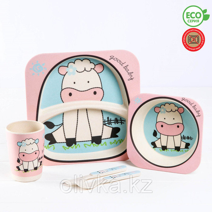 Набор детской посуды «Коровка» из бамбука, 5 предметов: тарелка, миска, стакан, столовые приборы