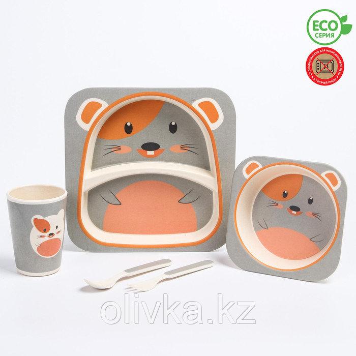 """Набор бамбуковой посуды """"Мышка"""", тарелка, миска, стакан, приборы, 5 предметов"""
