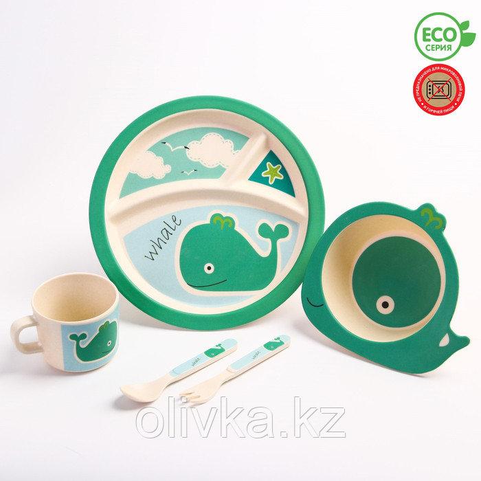 """Набор бамбуковой посуды """"Китенок"""",тарелка, миска, кружка, приборы, 5 предметов"""