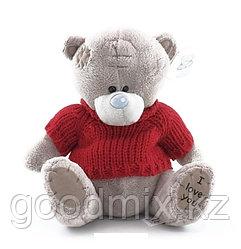 Мягкая игрушка Мишка Тедди в красной кофте (17 см)