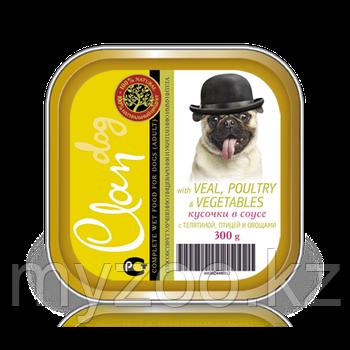 CLAN  влажный корм для собак всех пород Кусочки в соусе с телятиной, птицей и овощами  300гр