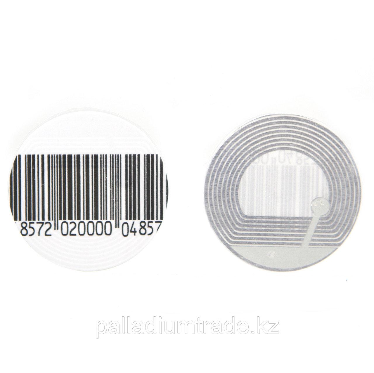 Защитная этикетка круглая, штрих-код.