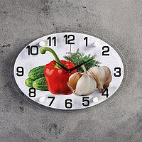 """Часы настенные, серия: Кухня, """"Овощи"""", 24х34 см, микс"""