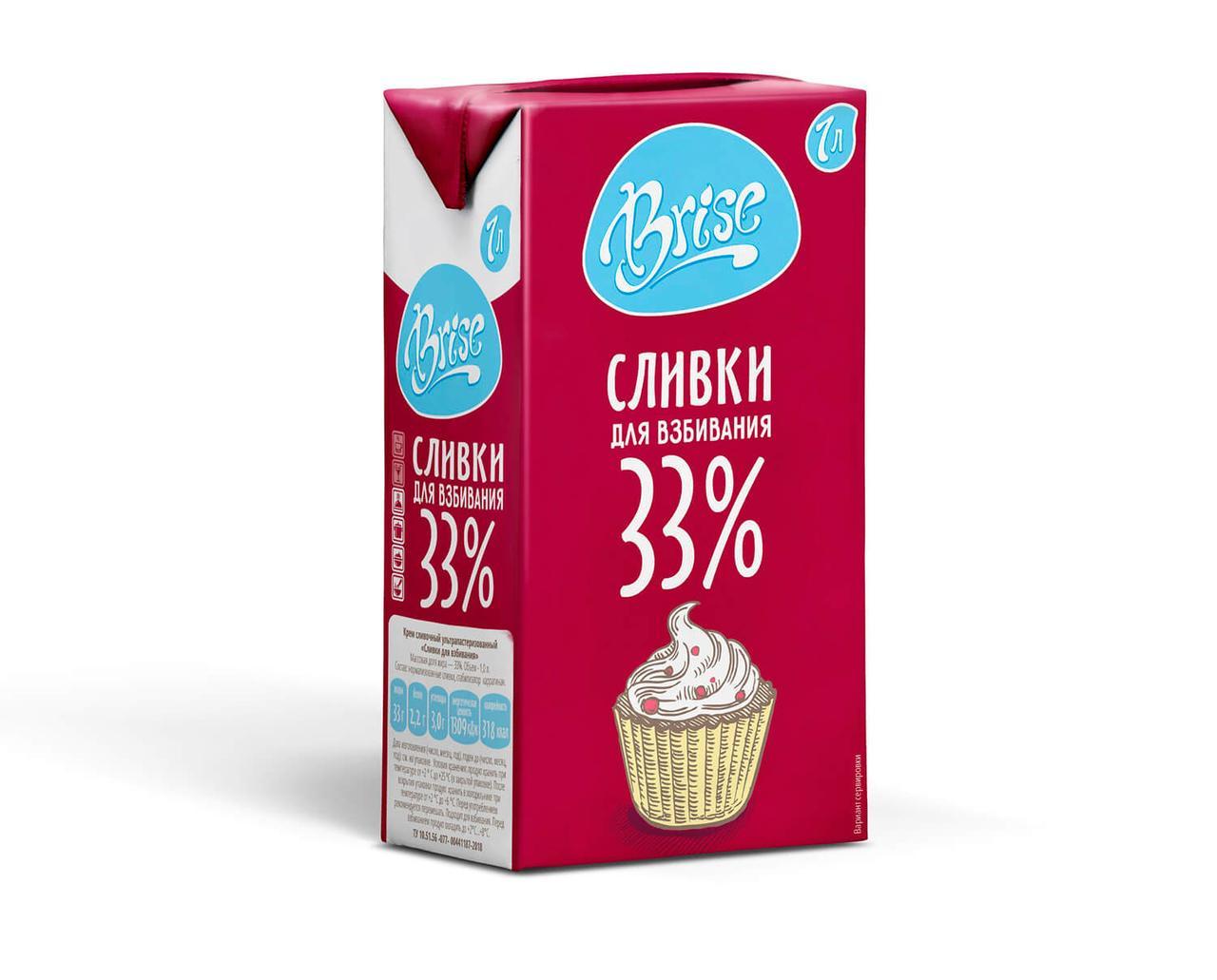 Сливки натуральные Brise 33 % 1 л