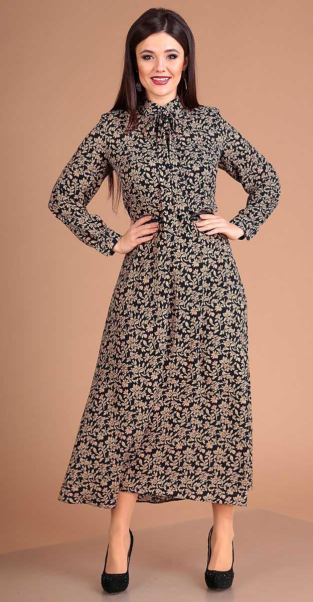 Платье Мода-Юрс-2524, беж+темно-синий, 46