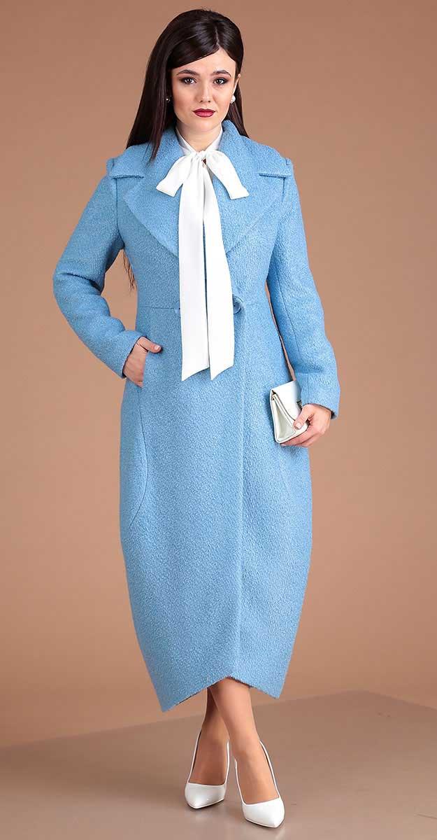 Пальто Мода-Юрс-2519, голубой, 46