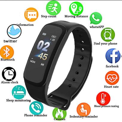 Умный браслет здоровья C1 Plus ( давление, пульс, шагомер, калории,часы)