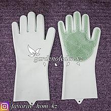 Перчатки для мытья посуды, с чистящей щеткой. Материал: Силикон. Цвет: Зеленый.
