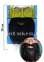 Накладная борода на резинке черная (22 см)