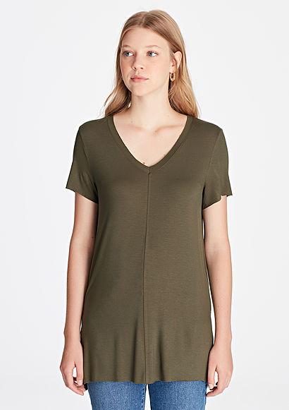 """Женская удлиненная футболка """"V"""" вырезом"""