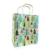 "Non-branded Пакет бумажный подарочный, ""Зимний лес"", эффект: крафт, размер 20 x 24 x 11,5 см."