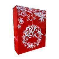 "Non-branded Пакет бумажный подарочный, ""Новогодний венок"", эффект: глянцевая поверхность, размер 28 х 34 х 9 см."