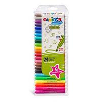 Фломастеры 24 цвета Carioca Mini, 1-4,7 мм, 6 флуоресцентных, в пластиковом пенале