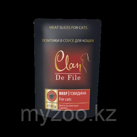 CLAN De File  влажный корм для кошек, с Говядиной с Цукини в соусе 85гр