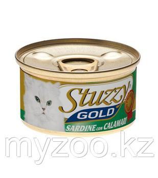 STUZZY GOLD  влажный корм для кошек Сардины с Кальмарами в собственном соку 85гр