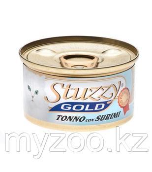 STUZZY GOLD  влажный корм для кошек Тунец с Крабом в собственном соку    85гр