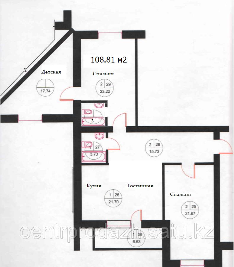 4 комнатная квартира в ЖК Омир Озен 108.81 м²