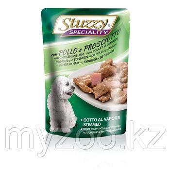 STUZZY  DOG влажный корм для собак курица и ветчина в соусе 100 гр
