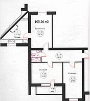 3 комнатная квартира в ЖК Омир Озен 105.26 м², фото 1