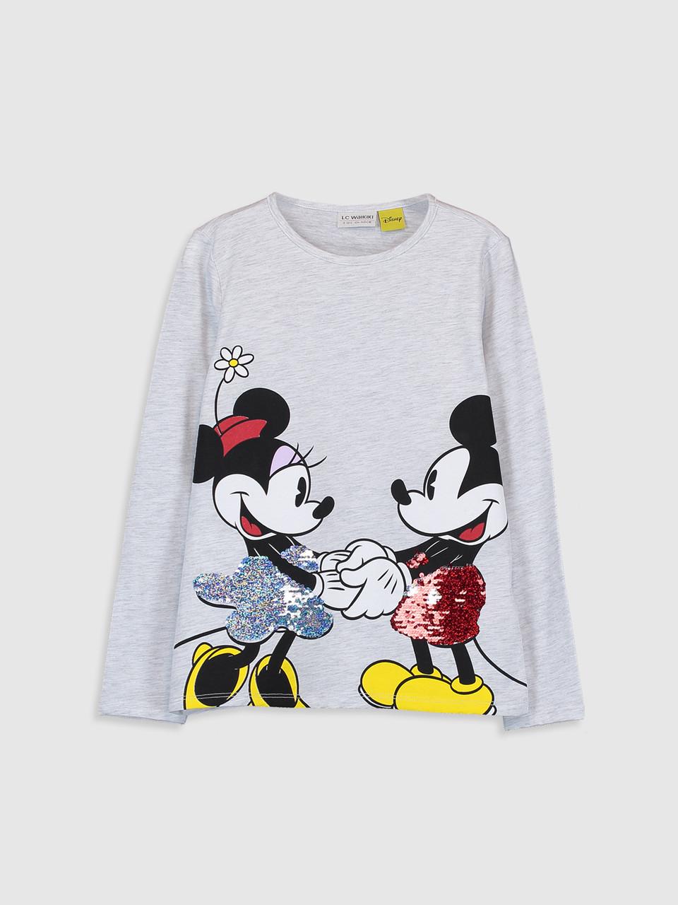 Футболка с длинным рукавом  для девочек Mickey Mouse, футболка детская