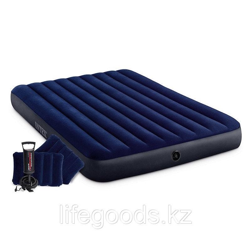 Надувной матрас двуспальный с подушками и насосом 152х203х25 см Intex 64765