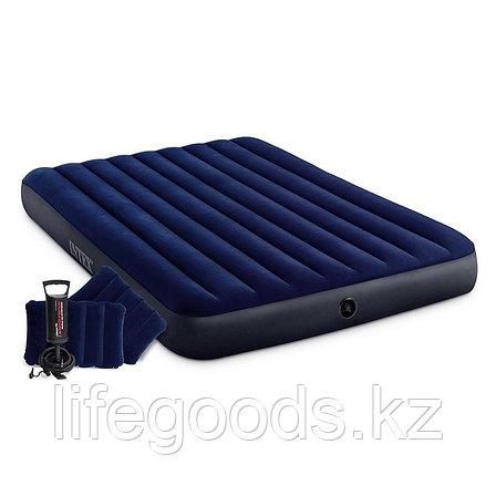 Надувной матрас двуспальный с подушками и насосом 152х203х25 см Intex 64765, фото 2