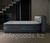 Двуспальная надувная кровать со спинкой и насосом, Intex 64448